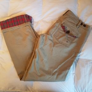 Anthro G1 Basic Goods Khakis with Plaid details
